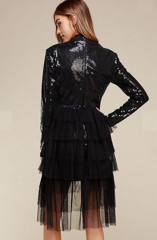 Black Sequins Long Sleeves Waist Mesh Dress 5