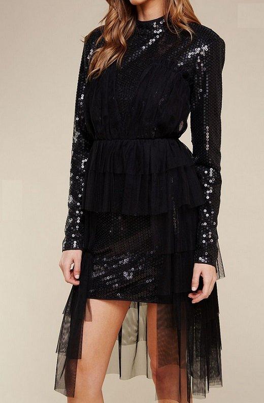 Black Sequins Long Sleeves Waist Mesh Dress 6