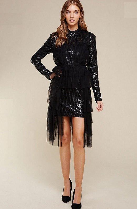 Black Sequins Long Sleeves Waist Mesh Dress 7