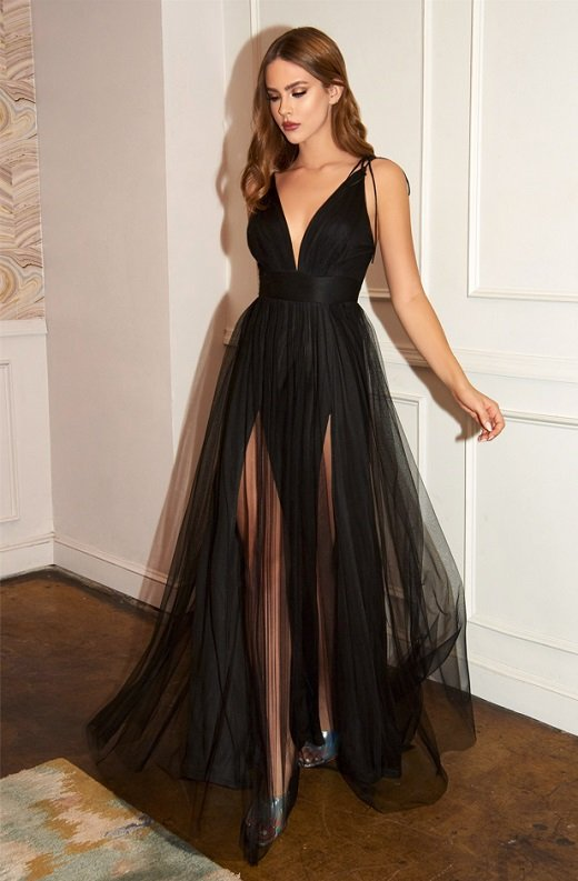 Black Sheer Mesh Tulle Tie Strap Maxi Dress 1