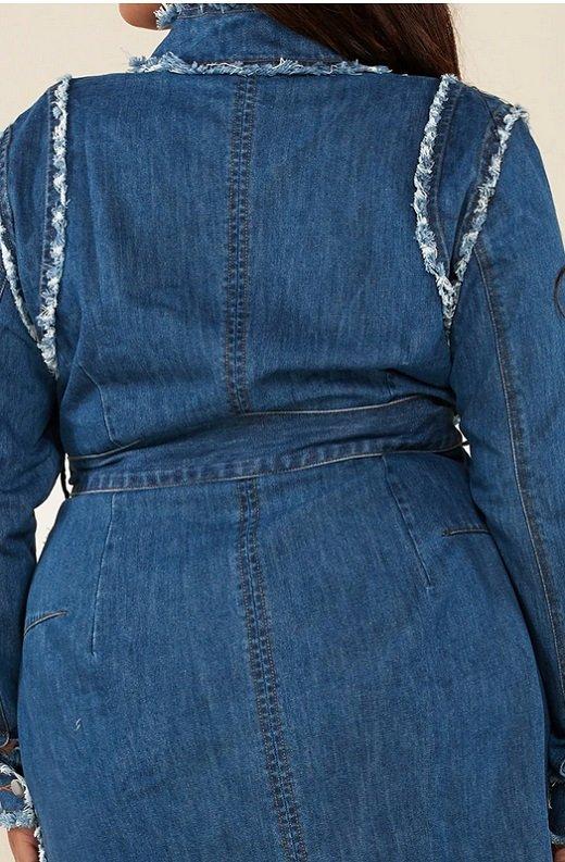 Blue Medium Wash Denim High Neck Long Sleeves Dress Plus Size 5
