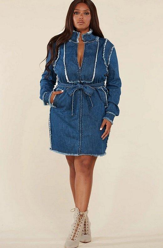 Blue Medium Wash Denim High Neck Long Sleeves Dress Plus Size 6