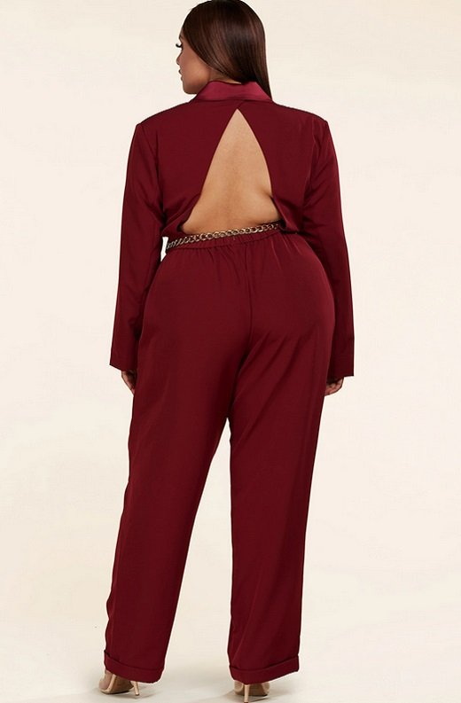 Burgundy Double Breasted Blazer Gold Belted Jumpsuit Set Plus Size 3