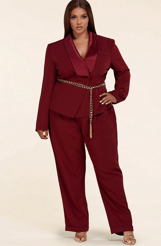 Burgundy Double Breasted Blazer Gold Belted Jumpsuit Set Plus Size 6