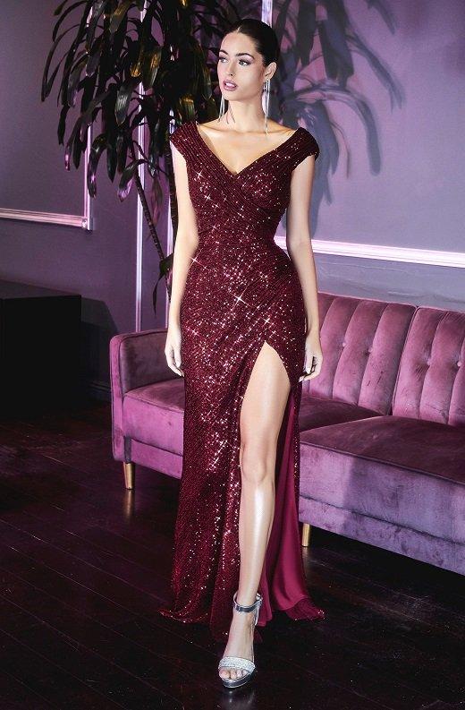 Burgundy Iridescent Sequins Hourglass High Waist Slit Gown 1