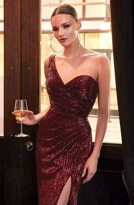 Burgundy Iridescent Sequins One Shoulder Sleeve Cut Out Gown 1