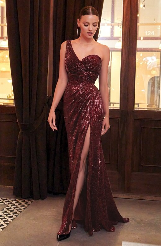 Burgundy Iridescent Sequins One Shoulder Sleeve Cut Out Gown 2