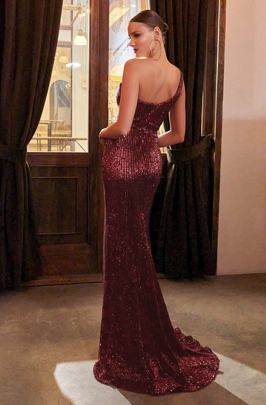 Burgundy Iridescent Sequins One Shoulder Sleeve Cut Out Gown 3