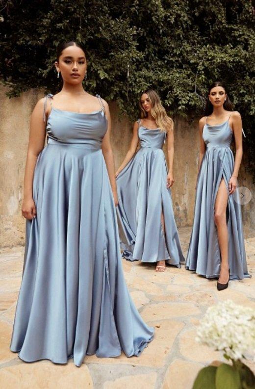 Dusty Blue Satin Cowl Neck Bridesmaids Gown 1