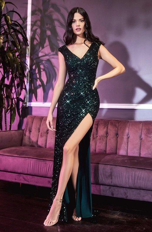 Emerald Iridescent Sequins Hourglass High Waist Slit Gown 1