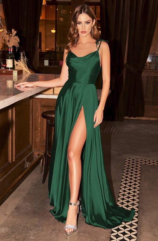 Emerald Satin Cowl Neck Bridesmaids Gown 1