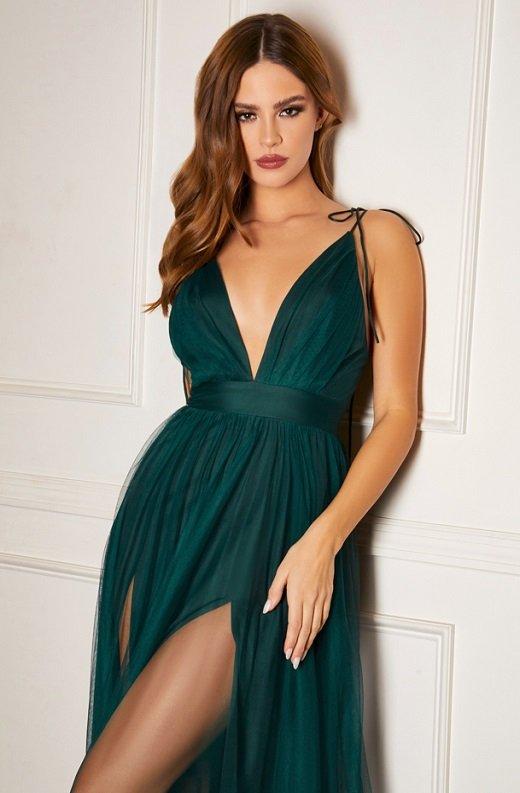 Emerald Sheer Mesh Tulle Tie Strap Maxi Dress 1