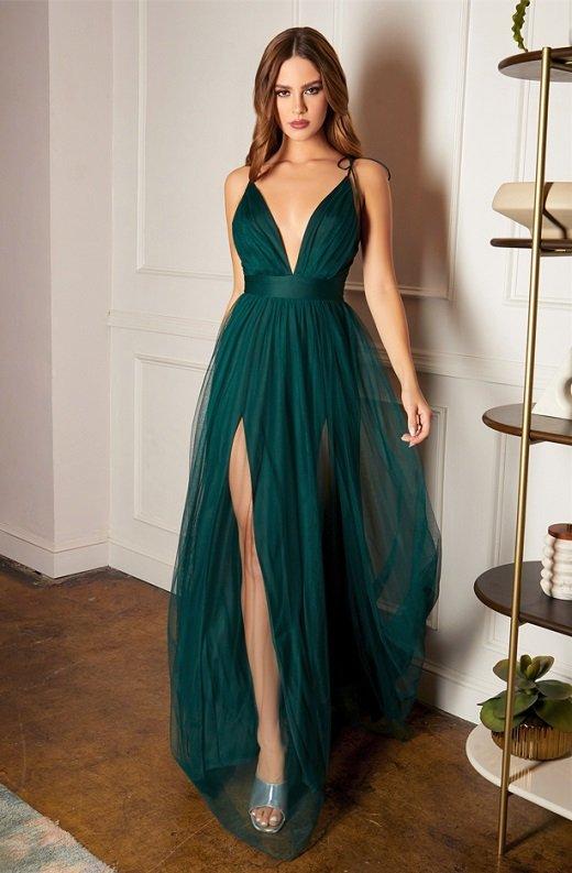 Emerald Sheer Mesh Tulle Tie Strap Maxi Dress 2