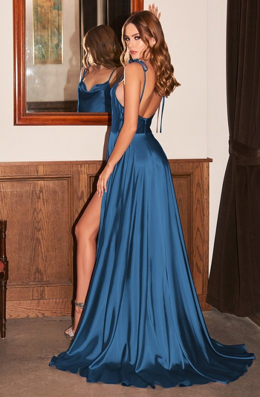 French Navy Cowl Neck Bridesmaids Gown 1