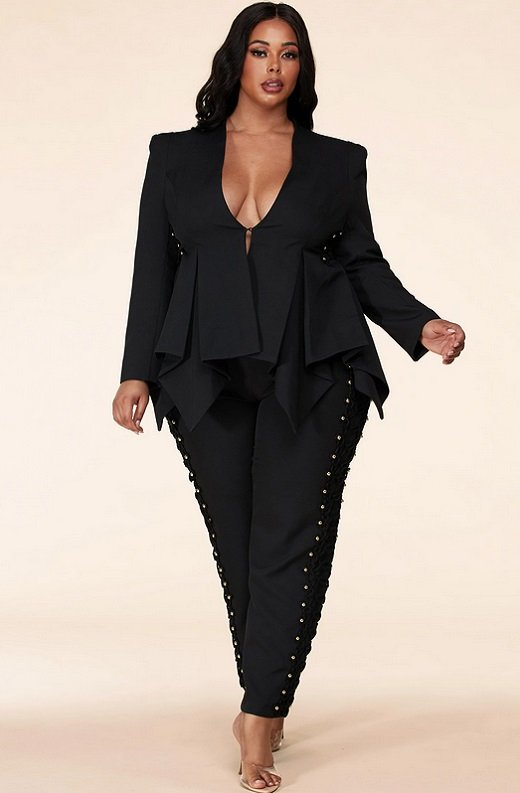 Gold Beaded Pants Blazer Set Plus Size 1