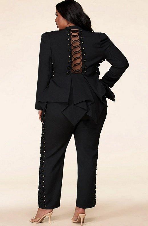 Gold Beaded Pants Blazer Set Plus Size 3