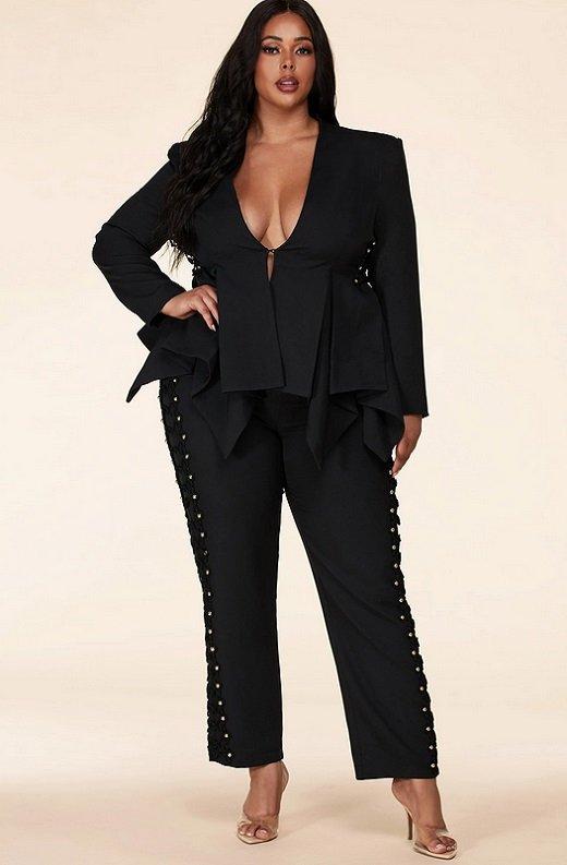 Gold Beaded Pants Blazer Set Plus Size 7