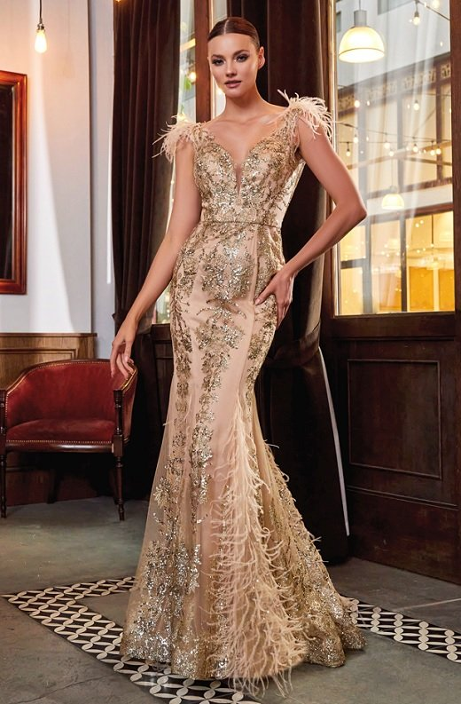 Gold Floral Mermaid Shimmer Sleeveless Feather Wedding Gown 1