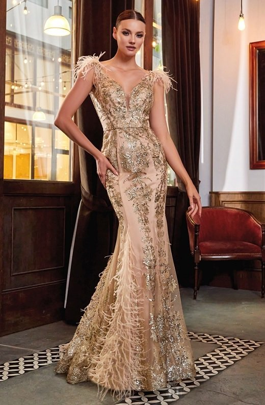 Gold Floral Mermaid Shimmer Sleeveless Feather Wedding Gown 2