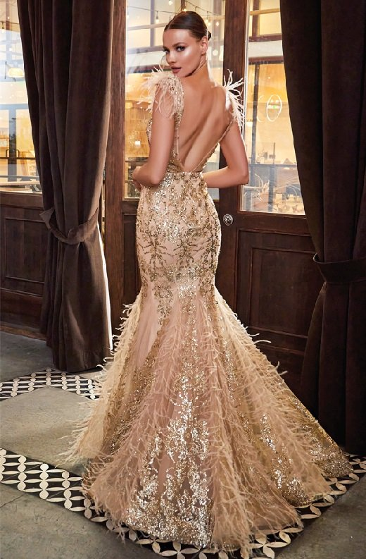 Gold Floral Mermaid Shimmer Sleeveless Feather Wedding Gown 3