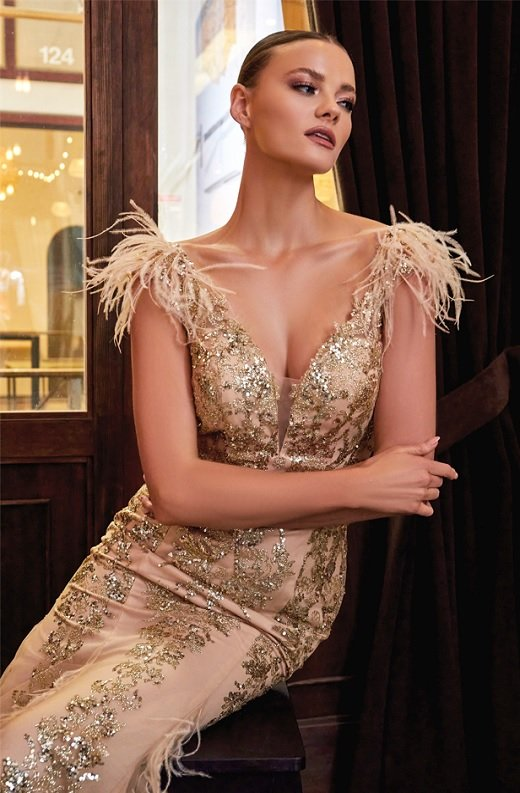 Gold Floral Mermaid Shimmer Sleeveless Feather Wedding Gown 4