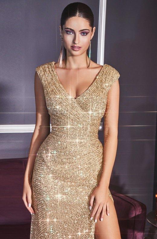 Gold Iridescent Sequins Hourglass High Waist Slit Gown 1