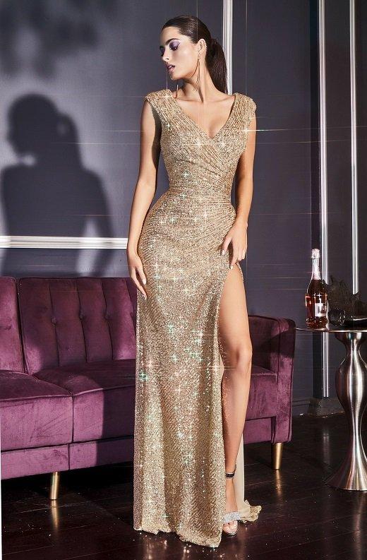Gold Iridescent Sequins Hourglass High Waist Slit Gown 2