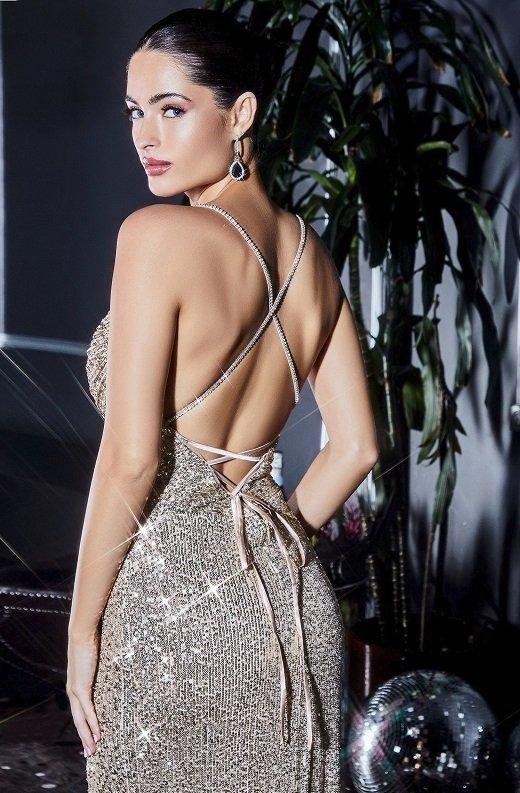 Gunmetal Iridescent Sequins Cowl Neckline Crisscross Straps Gown 3