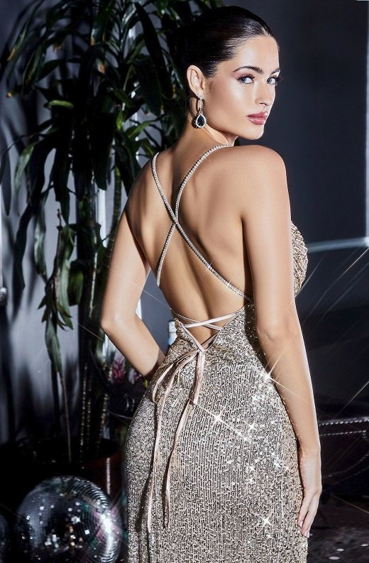 Gunmetal Iridescent Sequins Cowl Neckline Crisscross Straps Gown 4
