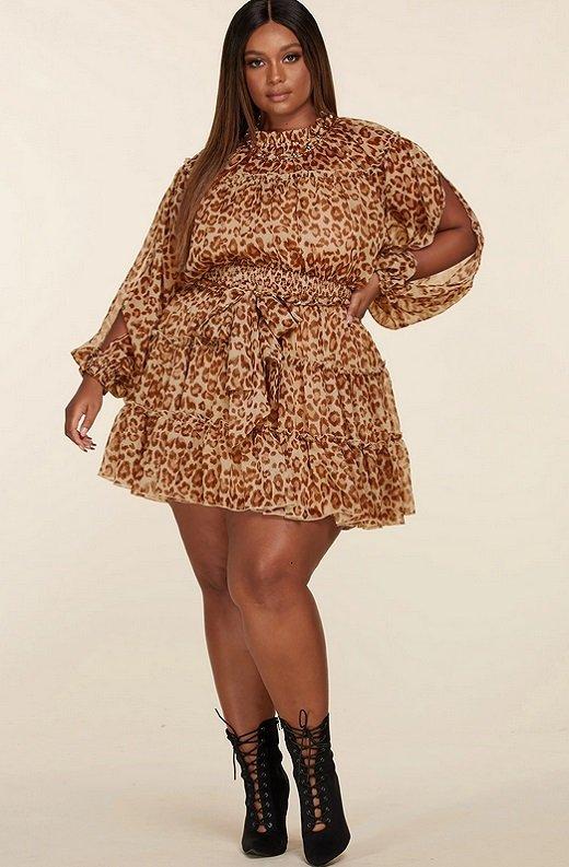 Leopard Print Open Sleeves Belted Waistline Dress Plus Size 1