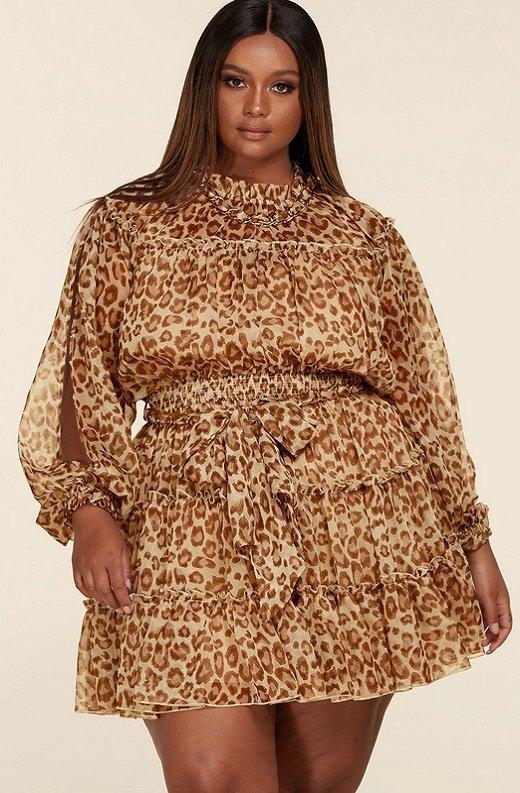 Leopard Print Open Sleeves Belted Waistline Dress Plus Size 2