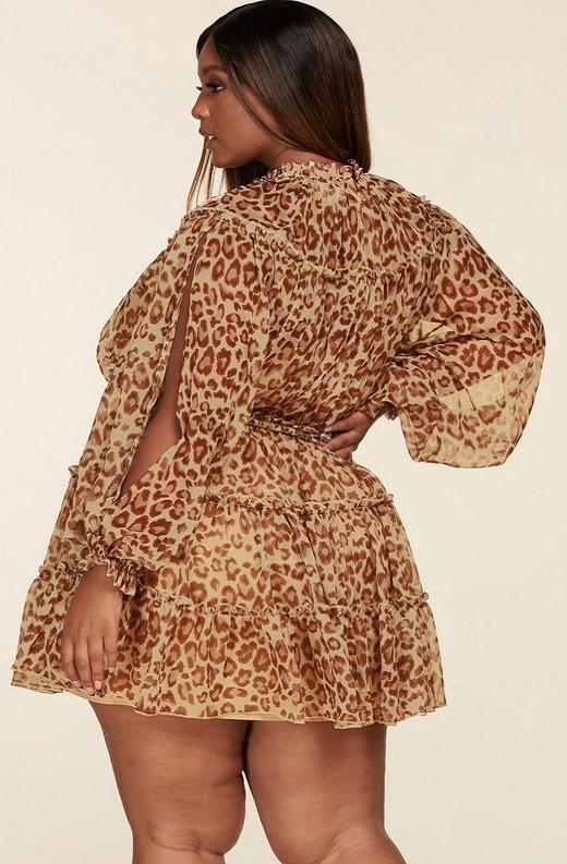 Leopard Print Open Sleeves Belted Waistline Dress Plus Size 4