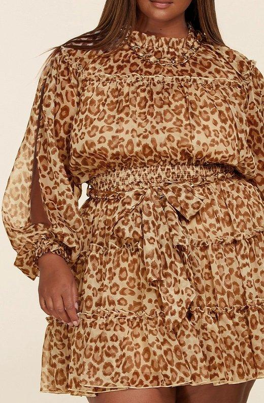Leopard Print Open Sleeves Belted Waistline Dress Plus Size 5