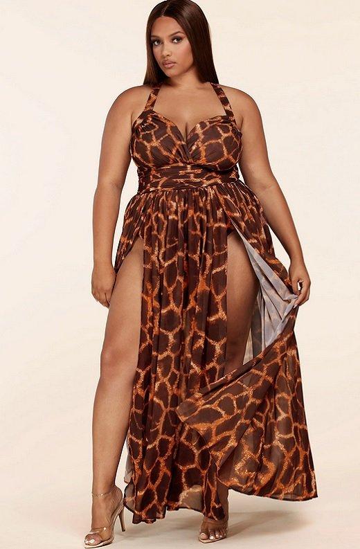 Leopard Print Slit Open Back Maxi Dress Plus Size 1