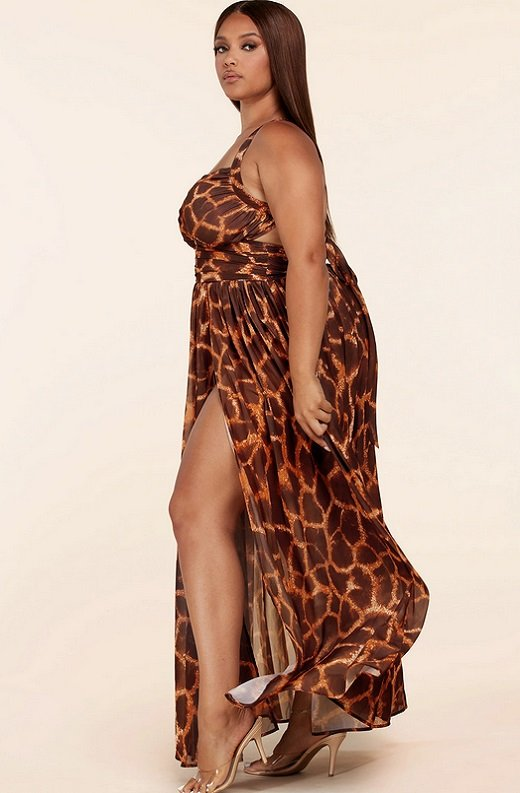 Leopard Print Slit Open Back Maxi Dress Plus Size 2