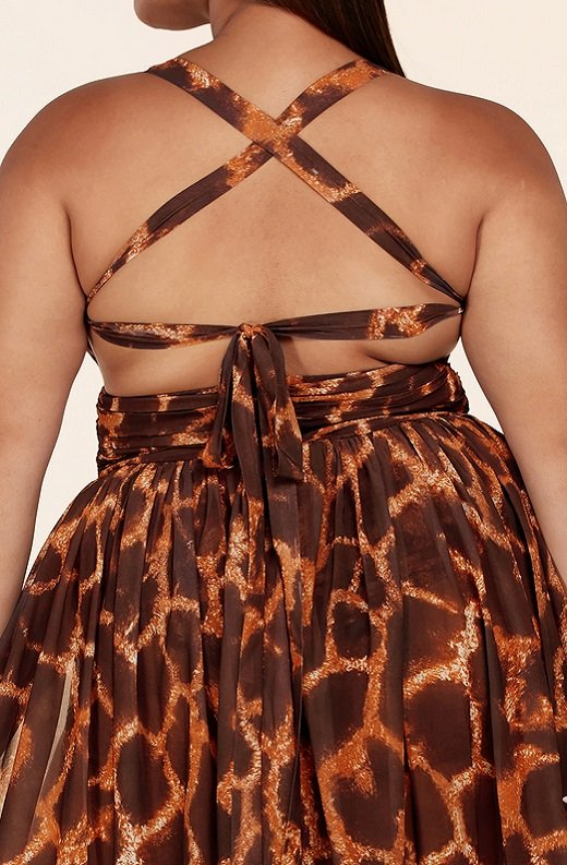 Leopard Print Slit Open Back Maxi Dress Plus Size 5