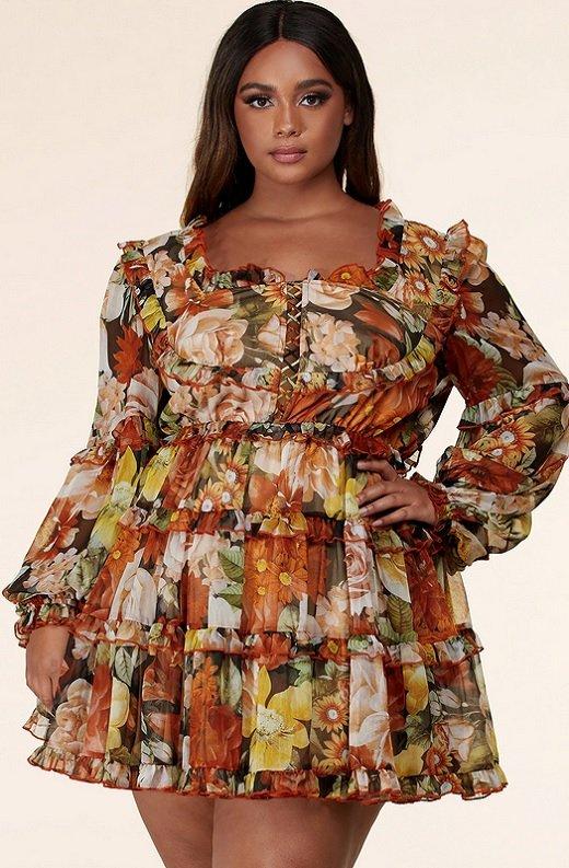 Mocha Floral Print Ruffle Cut Out Tie Up Front Mini Dress Plus Size 1