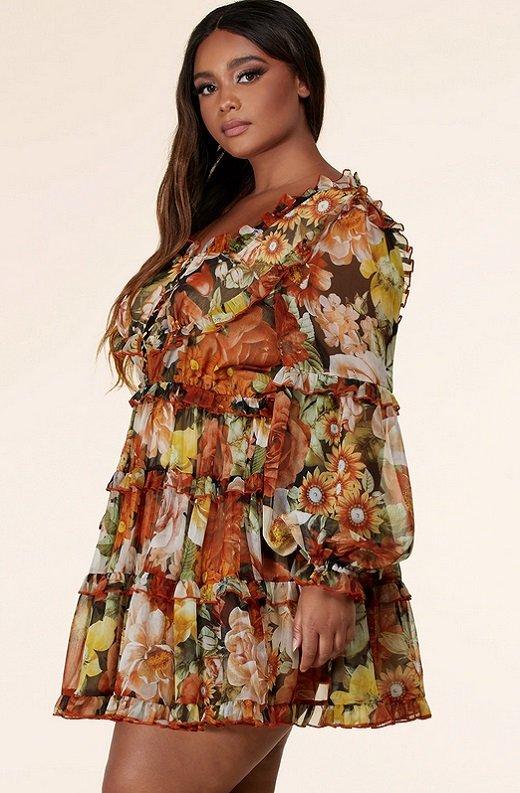 Mocha Floral Print Ruffle Cut Out Tie Up Front Mini Dress Plus Size 2