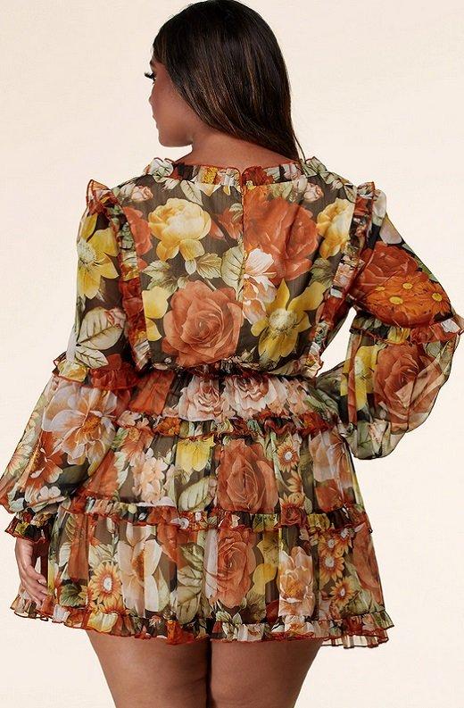 Mocha Floral Print Ruffle Cut Out Tie Up Front Mini Dress Plus Size 3
