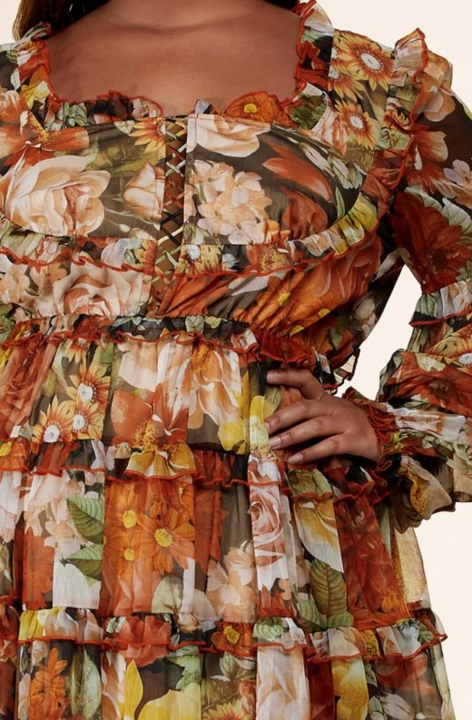 Mocha Floral Print Ruffle Cut Out Tie Up Front Mini Dress Plus Size 4