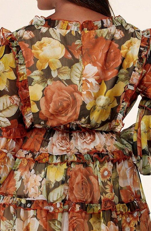 Mocha Floral Print Ruffle Cut Out Tie Up Front Mini Dress Plus Size 5
