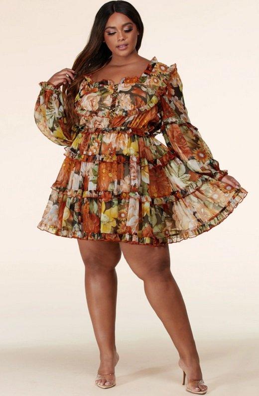 Mocha Floral Print Ruffle Cut Out Tie Up Front Mini Dress Plus Size 6