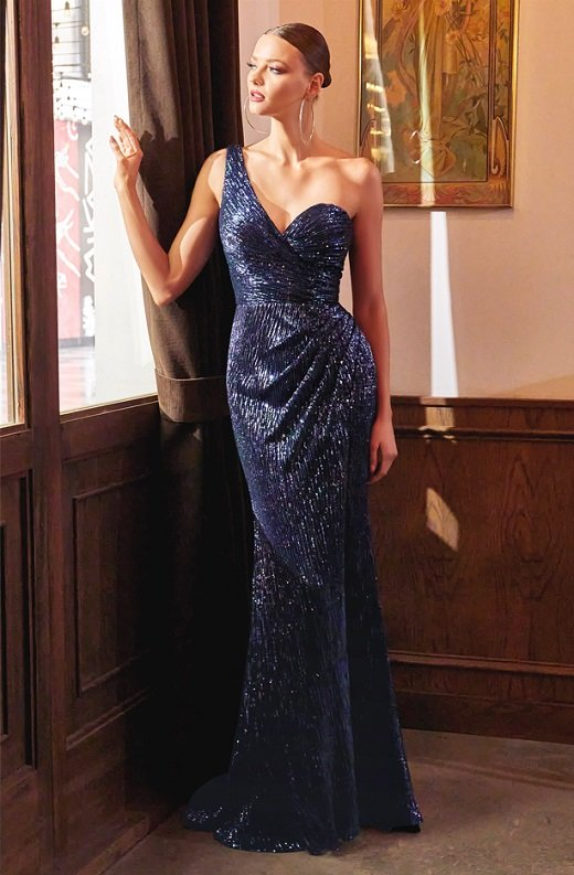 Navy Iridescent Sequins One Shoulder Sleeve Cut Out Gown 4
