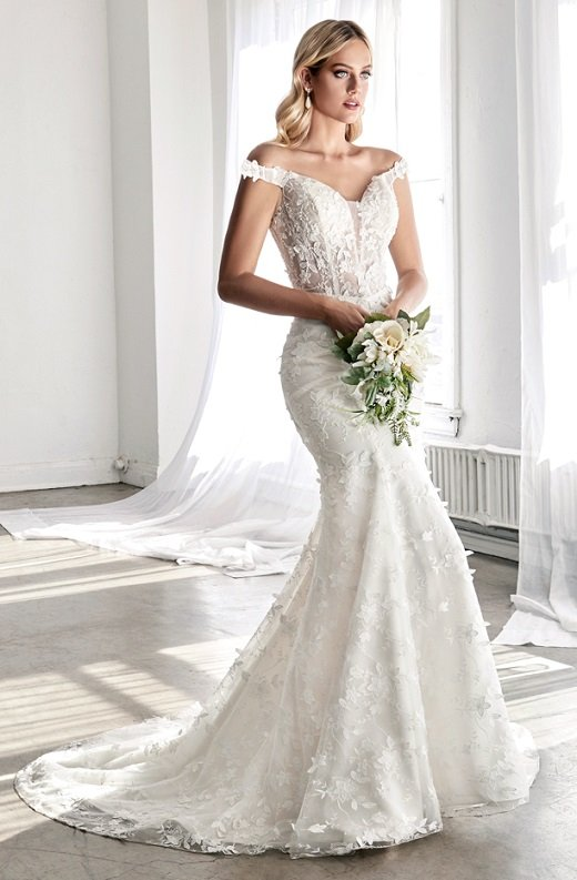 Off White Floral Embroidered Deep V Neck Mermaid Bridal Gown 1