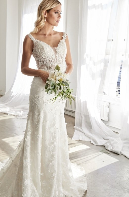 Off White Floral Embroidered Deep V Neck Mermaid Bridal Gown 3