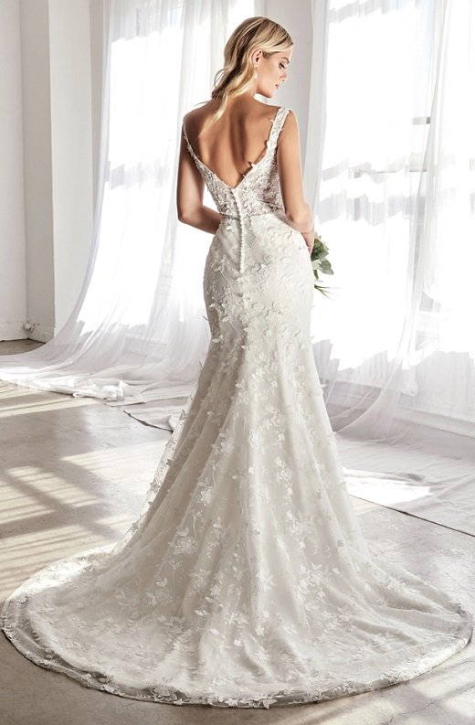 Off White Floral Embroidered Deep V Neck Mermaid Bridal Gown 4