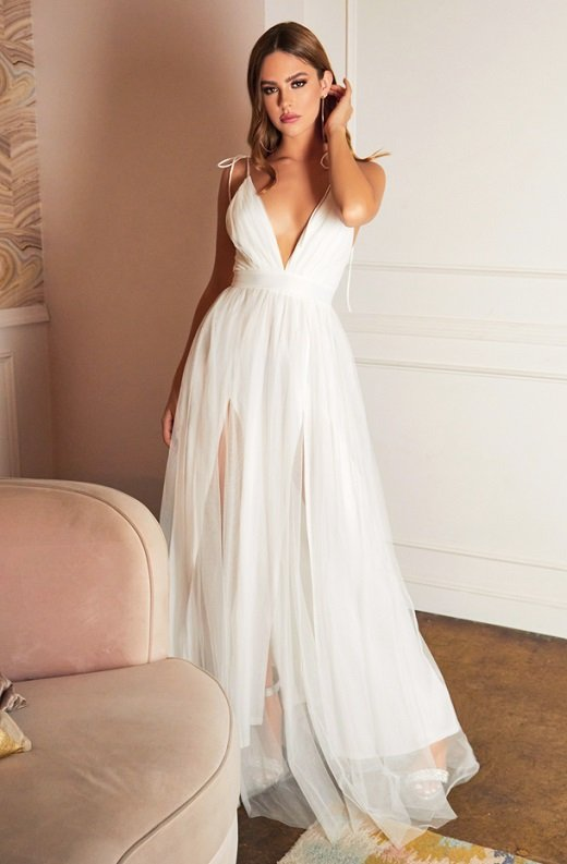 Off White Sheer Mesh Tulle Tie Strap Maxi Dress 1