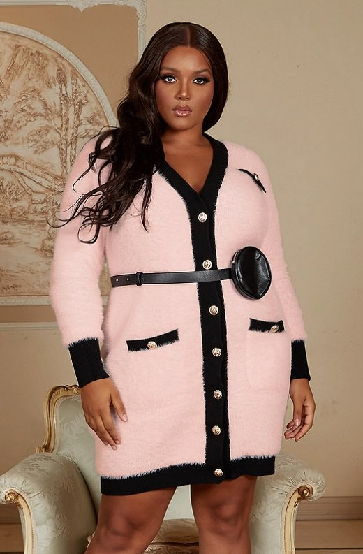 Pink Fuzzy Black Belted Mini Purse Dress Plus Size 1