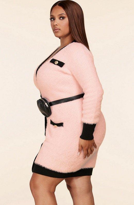 Pink Fuzzy Black Belted Mini Purse Dress Plus Size 3