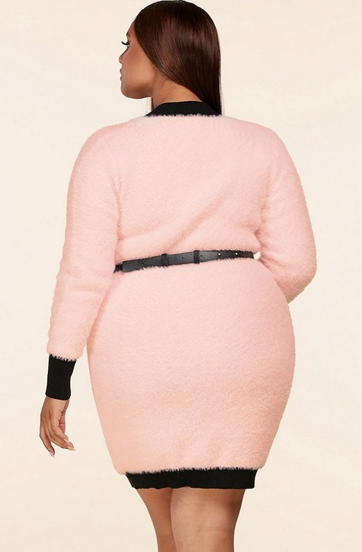Pink Fuzzy Black Belted Mini Purse Dress Plus Size 4